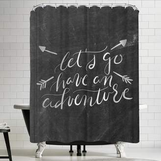 East Urban Home Jetty Printables Silver Chalkboard Adventure Typography Shower Curtain