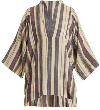 Three Graces London Temple Striped Cotton Blend Top - Womens - White Multi