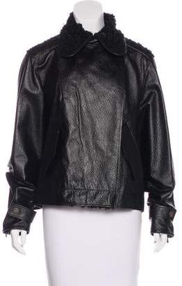 Chanel Tweed-Trimmed Leather Jacket w/ Tags