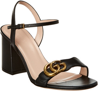 Gucci Gg Leather Mid-Heel Sandal