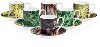 Roberto Cavalli Paradise Foliage Cups & Saucer - Set of 6