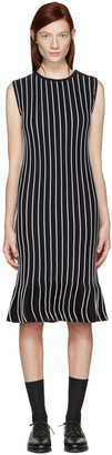 Thom Browne Navy Striped Pleated Dress $1,990 thestylecure.com
