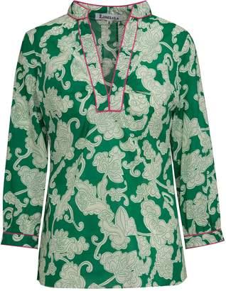 Libelula Beach Top Green Dotty Swirl Print