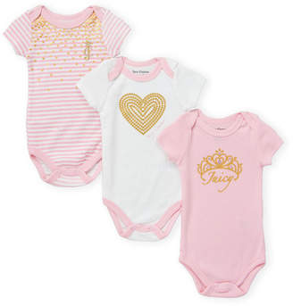 7aa23935c Juicy Couture Newborn Girls) 3-Pack Foil Graphic Bodysuits