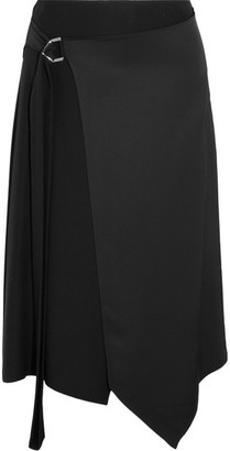 Versace - Asymmetric Satin Wrap Midi Skirt - Black $1,150 thestylecure.com