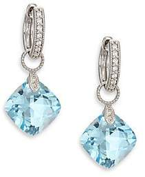 Jude Frances Women's Lisse Sky Blue Topaz, Diamond & 18K White Gold Cushion Earring Charms