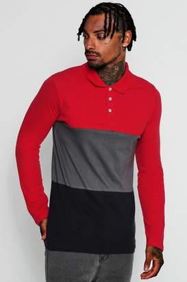 boohoo Long Sleeve Colour Block Polo