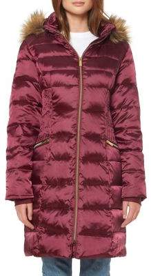 Ellen Tracy Heavy Weight Faux Fur-Trimmed Quilted Down Jacket