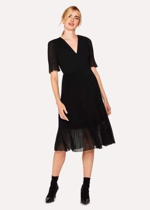 Paul Smith Women's Black Chiffon Short-Sleeve Pleated Dress