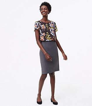LOFT Petite Seamed Scuba Pencil Skirt