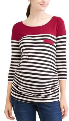 Planet Motherhood Maternity Casual Stripe Color Block Top