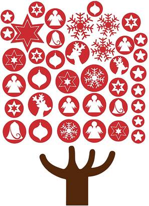 Vinyl Design Baubles Christmas Tree Wall Decal, Vinyl Red Large