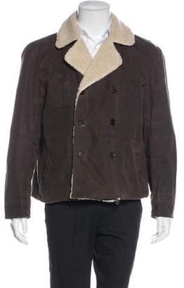 Billy Reid Double-Breasted Sherpa-Lined Jacket