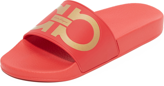 Salvatore Ferragamo Pool Slides $195 thestylecure.com