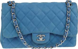 Chanel Classic Double Flap Quilted matte Jumbo Light Blue