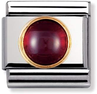 Nomination Stainless Steel, 18ct Gold & Garnet January Birthstone Classic Charm 030505/03