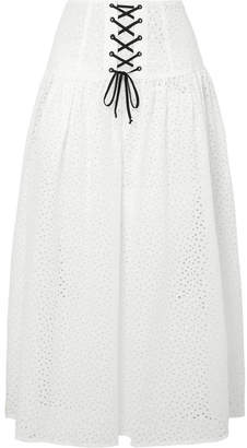 Marysia Swim Riviera Lace-up Broderie Anglaise Cotton Midi Skirt - White