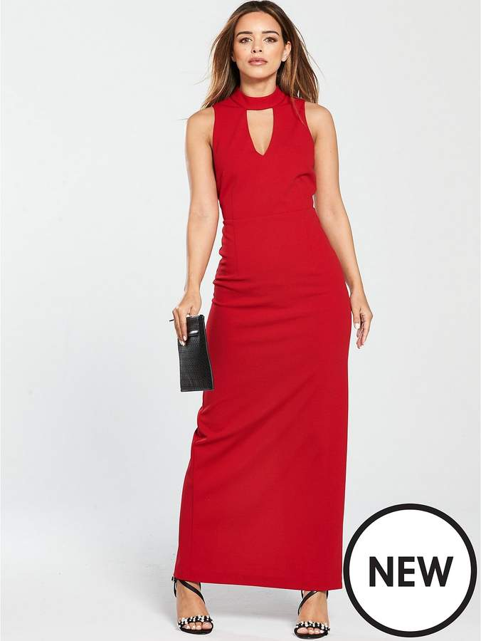 V By Very Petite High Neck Maxi Dress - Red