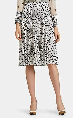 Burberry Women's Pleated Dot-Print Crepe Skirt - Wht, Blk