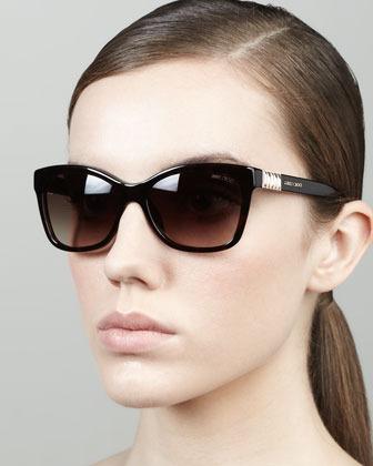 Jimmy Choo Mimi Crystal-Temple Square Sunglasses, Havana