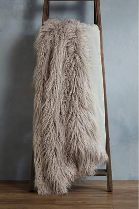 Next Faux Mongolian Fur Throw - Grey