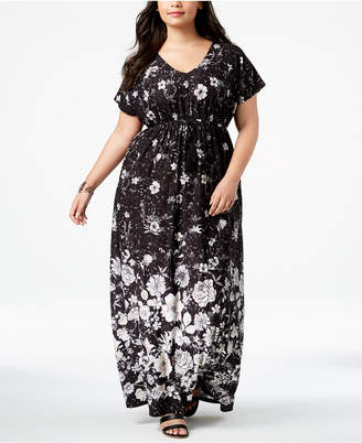 Style&Co. Style & Co Plus Size Printed Empire-Waist Maxi Dress, Created for Macy's