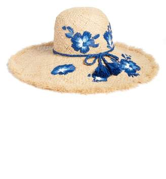 Kate Spade Embroidered Hibiscus Straw Sun Hat
