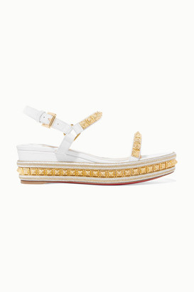 Christian Louboutin Pyraclou 60 Studded Lizard-effect Leather Wedge Sandals - White