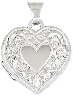 Scroll Heart Locket, 14K Gold