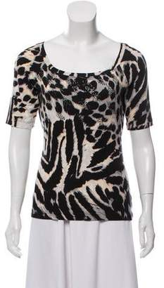 St. John Printed Embellished Top