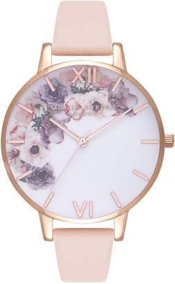 Olivia Burton Watercolours Florals Big Dial Peach Strap Watch OB16PP30