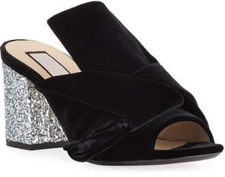 No.21 No. 21 Velvet Block-Heel Sandals