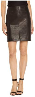 St. John Stretch Nappa Leather Skirt
