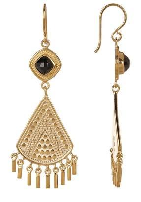 Anna Beck 18K Gold Plated Black Onyx Stone Fringe Earrings