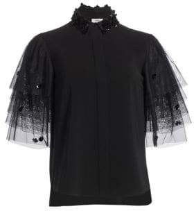 Akris Punto Sequin Collar Tulle-Sleeve Blouse