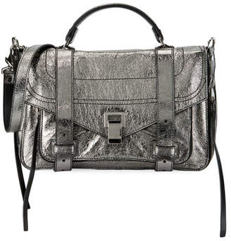 Proenza Schouler PS1+ Medium Metallic Paper Leather Satchel Bag