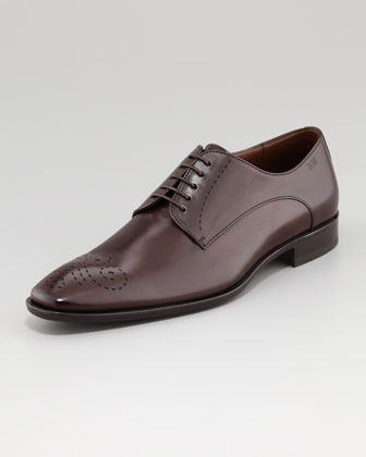 HUGO BOSS Celebio Perforated Leather Lace-Up, Brown