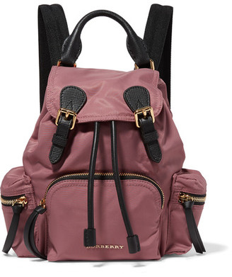 Burberry - Small Leather-trimmed Gabardine Backpack - Antique rose $1,150 thestylecure.com