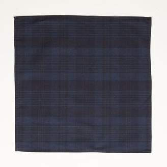 Blade + Blue Tonal Navy Overdyed Plaid Cotton Pocket Square