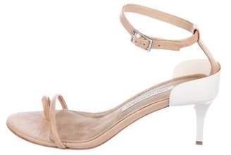 Diane von Furstenberg Leather and Metal Ankle-Strap Sandals
