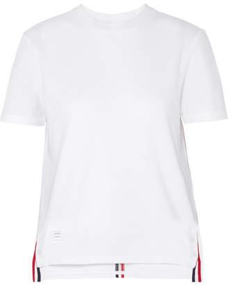 Thom Browne Appliquéd Cotton-piqué T-shirt - White