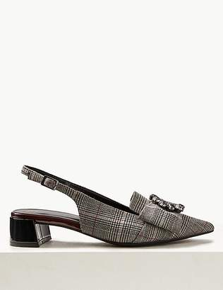 Marks and Spencer Block Heel Jewel Slingback Court Shoes