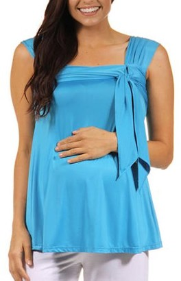 24/7 Comfort Apparel Women's Side Maternity Tie Tunic Sleeveless Tank Top
