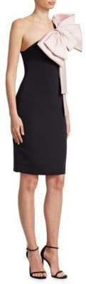 Badgley Mischka One Shoulder Bow Dress