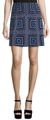 Nanette Lepore Patchwork A-Line Mini Skirt, Black/Multi $298 thestylecure.com