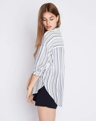 Express Striped Oversized Button-Up Shirt