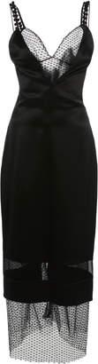 Cushnie Mesh Overlay Silk Midi Dress