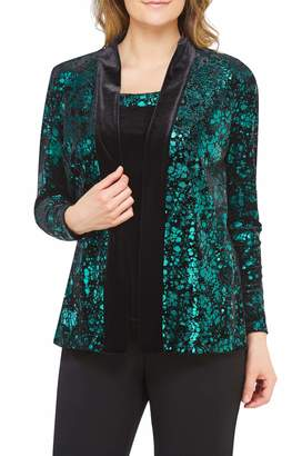 TanJay Tan Jay Metaic Veour Cardigan with Attached Top EmrdSpsh