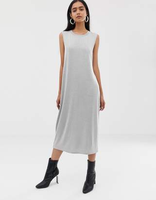 Weekday Beyond sleeveless dress in grey melange