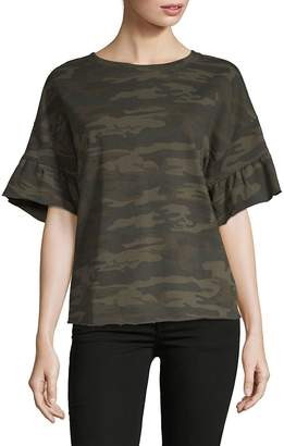 Sanctuary Women's Camo Print Ruffle Bell Sleeve Top